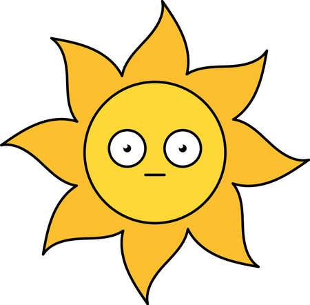 Shocked sun emoji outline illustration. Scared, terrified emoticon. Social media cartoon sticker