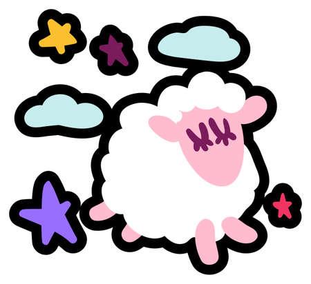 Cute little lamb flat vector illustration Stock Vector - 129791155