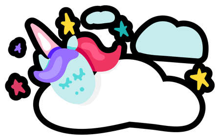 Dreaming unicorn flat vector illustration