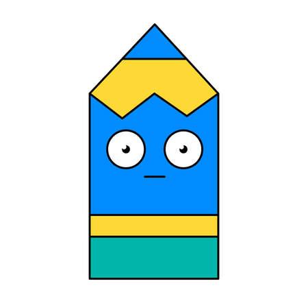 Shocked pencil emoji outline illustration. Scared, terrified emoticon. Social media cartoon sticker