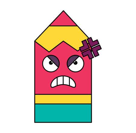 Mad pencil sticker outline illustration. Angry, bad mood emoticon. Social media cartoon emoji
