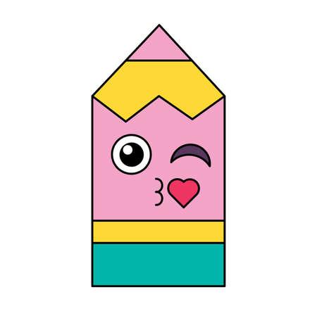 Flirting pencil emoticon outline illustration Фото со стока - 129791201