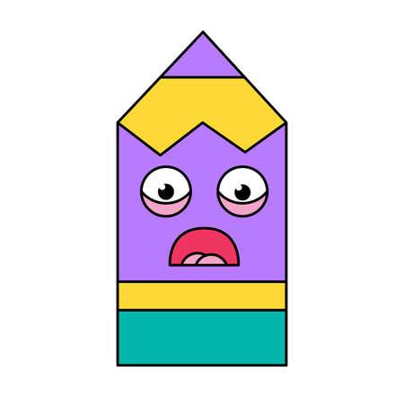 Shocked pencil sticker outline illustration. Terrified, scared emoji. Social media cartoon emoticon