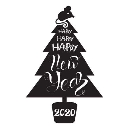 Christmas tree silhouette with lettering. Happy new 2020 year. Holiday greeting card design element