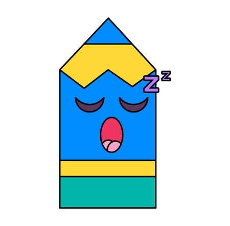 Sleeping pencil emoticon Illusztráció
