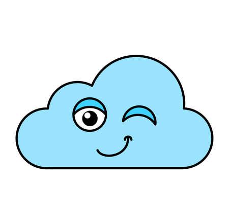 Winking cloud emoji outline illustration. Teasing, positive emoticon. Social media cartoon sticker