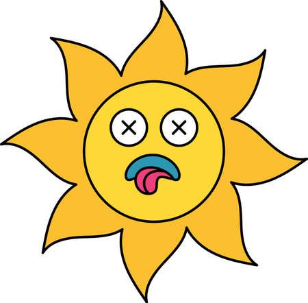 Dead, ill sun sticker outline illustration. Social media cartoon emoticon. Sick, depressed emoji
