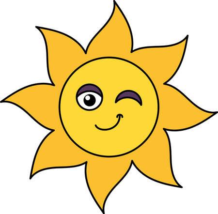 Winking sun emoji outline illustration. Teasing, positive emoticon. Social media cartoon sticker