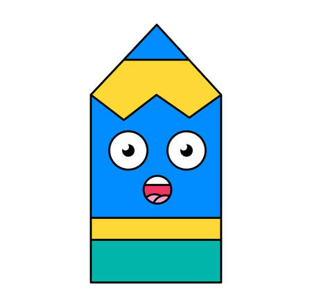Surprised pencil emoji outline illustration. Stunned, wow emoticon. Social media cartoon sticker