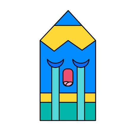 Weeping pencil emoticon outline illustration. Crying emoji. Social media cartoon sticker with tears Stock Illustratie