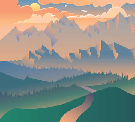 Morning Landscape Nature Forest Camping Banner. Sunrise or Evening Sunset with Clouds, Birds on Mountains Background and Green Tree and Grass on Poster. Isometric 3d Vector Illustration
