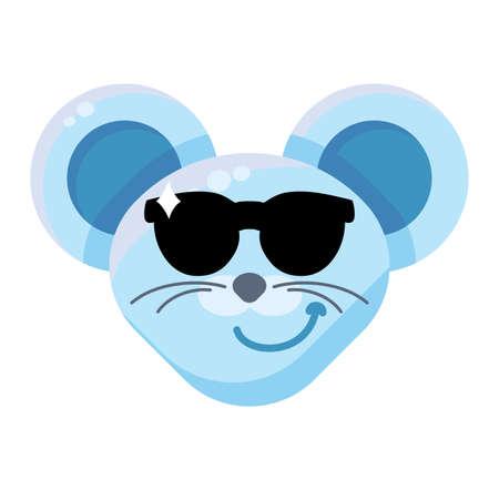 Mouse face cool boy emoticon sticker. Confident animal emoji, macho rat character wearing sunglasses Foto de archivo - 129791237