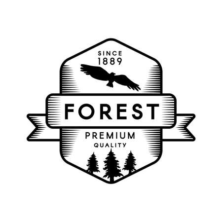 Mountain Camp Geometric Emblem Design Template. Wild Forest Silhouette Eagle Black and White Badge. Outdoor Adventure and Recreation Graphic Banner Concept. Flat Cartoon Vector Illustration