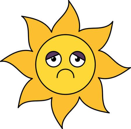 Depressed sun sticker outline illustration. Melancholy, gloomy emoji. Social media emoticon Ilustração