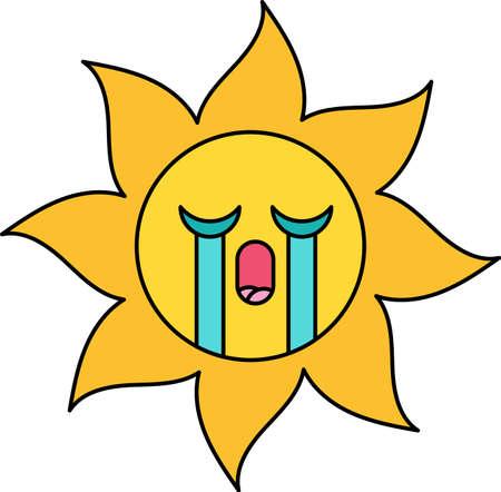 Crying sun emoticon outline illustration. Weeping emoji. Social media cartoon sticker with tears Illustration