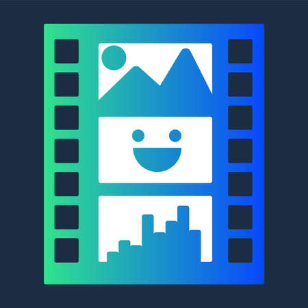 Colorful Diafilm for Multimedia Production Icon. Design Element of Workflow in Cinematography Vintage Snapshot Filmstrip. Cast Collection on Film Motion Slide with Picture Vector Flat Symbol Illustration