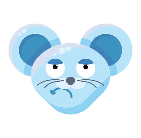 Mouse face sceptical emoticon sticker. Dissatisfied animal emoji, grumpy rat facial expression Ilustração