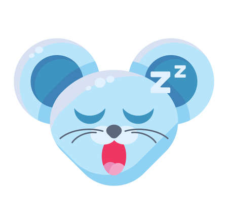 Mouse face drowsy emoticon sticker. Sleeping animal emoji, snoozing, snoring rat with closed eyes