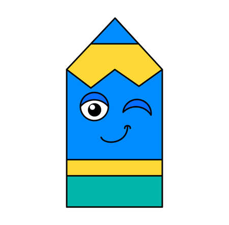 Character Funny Winking Smiling Pencil Cartoon. Colorful Cute and Happy School Education Elementary Item Element for Writing and Drawing. Design Color Template Vector Flat Illustration  イラスト・ベクター素材