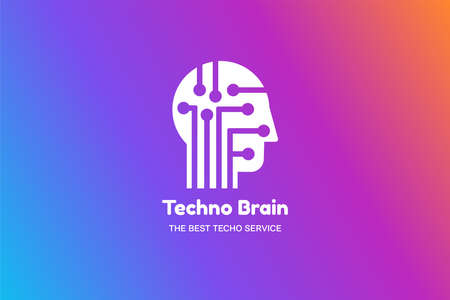Man Head and Chip Techno Brain Multimedia Иллюстрация