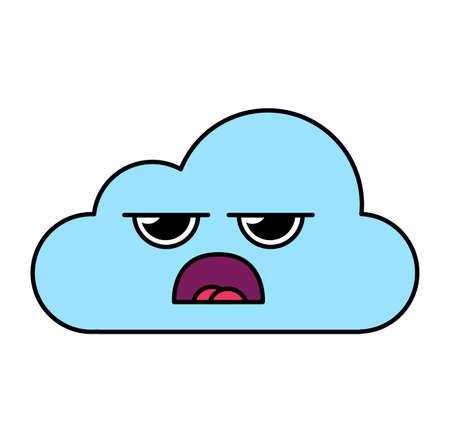 Grumpy cloud emoticon outline illustration. Confused, tired emoji. Social media cartoon sticker Illustration