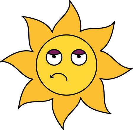 Bored sun emoticon outline illustration. Uninterested, tired emoji. Social media cartoon sticker