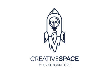 Creative Space Multimedia Service Banner. Flying Rocket Emblem with Light Bulb inside. Shuttle Outline Graphic Badge Idea Template.