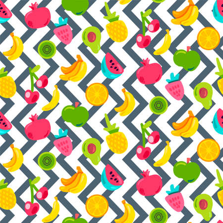 Painted Berries Summer Fruits Mix Seamless Pattern. Bright Pineapple, Orange on Zigzag Backdrop. Ilustração