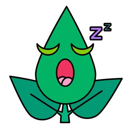Green leaf drowsy emoticon thin line icon. Sleeping face, cute botanical snoozing emoji sticker