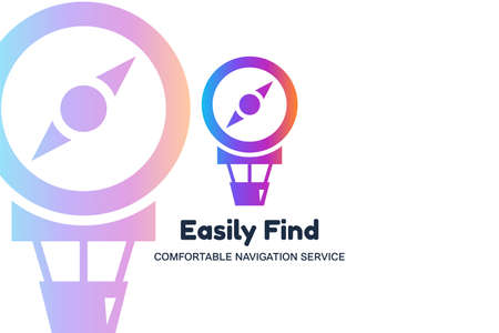 Easily find flat vector template. Air balloon and compass silhouette icon. GPS app logotype