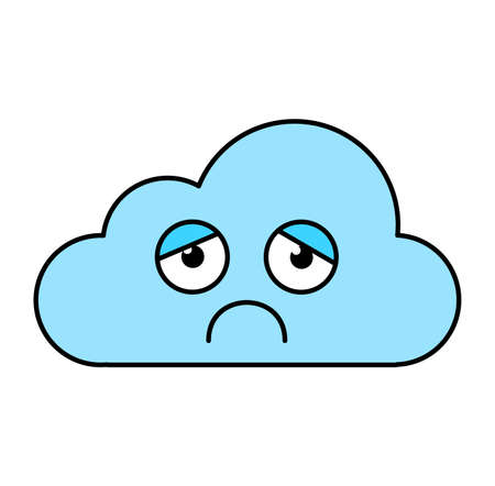 Depressed cloud sticker outline illustration. Melancholy, gloomy emoji. Social media emoticon