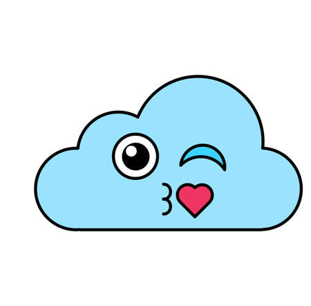 Flirting cloud emoticon outline illustration. Romantic, air kiss emoji. Social media cartoon sticker