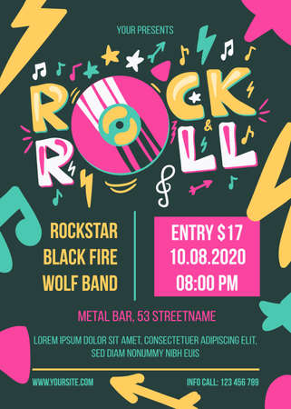 Rock and Roll Concert Retro Style Poster Template. Advertising Banner for Live Music Festival. Hipster Party Flyer.