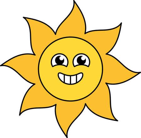 Excited sun sticker outline illustration. Happy, agitated emoticon. Social media cartoon emoji