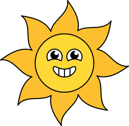 Excited sun sticker outline illustration. Happy, agitated emoticon. Social media cartoon emoji