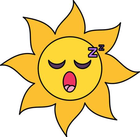 Sleeping sun emoji outline illustration. Exhausted, dreaming emoticon. Social media cartoon sticker