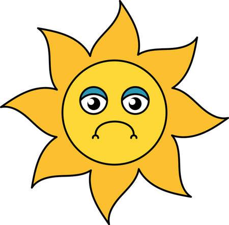 Unhappy sun emoji outline illustration. Depressed, gloomy emoticon. Social media cartoon sticker Ilustração