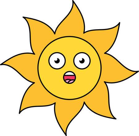 Surprised sun emoji outline illustration. Stunned, wow emoticon. Social media cartoon sticker Illustration