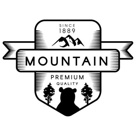 Mountain outline vector template. Recreational park symbol. Trees and grizzly bear silhouette