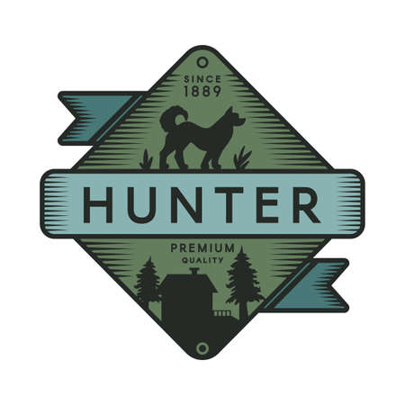 Hunter camp retro color template. Recreational park vintage vector symbol. Dog silhouette