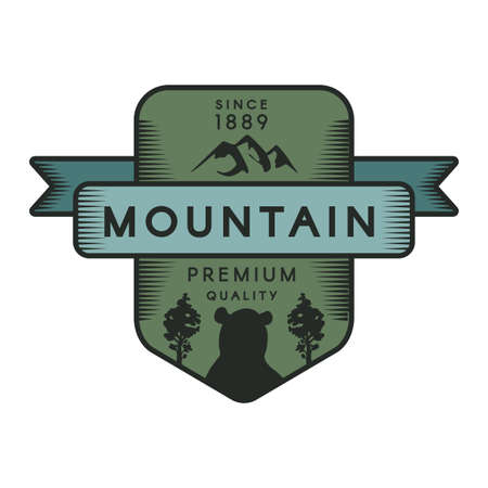 Mountain vector template. Recreational park symbol. Wild animal, grizzly bear silhouette