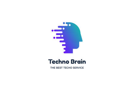 Human Head and Chip Techno Brain Multimedia Иллюстрация
