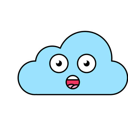 Surprised cloud emoji outline illustration. Stunned, wow emoticon. Social media cartoon sticker