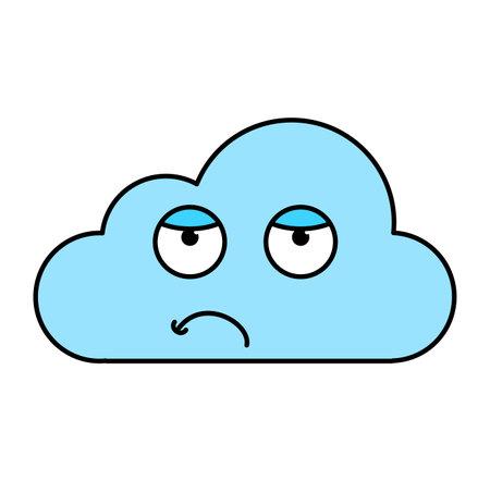Bored cloud emoticon outline illustration. Uninterested, tired emoji. Social media cartoon sticker