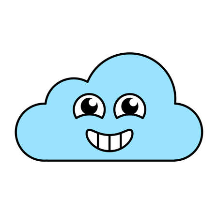 Excited cloud sticker outline illustration. Happy, agitated emoticon. Social media cartoon emoji