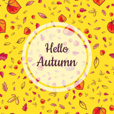 Positive Poster Hello Autumn with Falling Leaves Isolated on Yellow Background. Calligraphy Phrase in Center of Translucent White Round. Ilustração