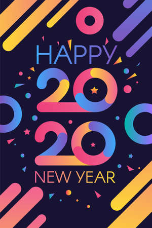 2020 Happy New Year Colorful Invitation Banner. Modern Numbers Two Thousand Twenty with Greeting Words.