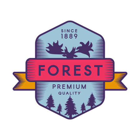 Forest color template. Wildlife recreational park retro vector symbol. Moose head silhouette