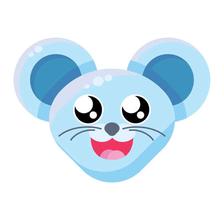 Mouse happy face emoticon. Smiling animal emoji, laughing rat. Happy New Year social media sticker Ilustração