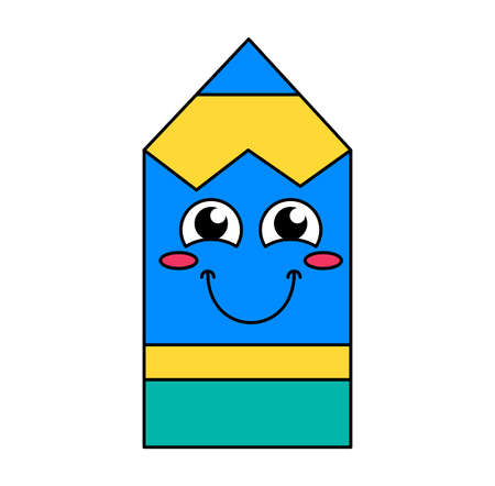 Blushing pencil emoji cartoon illustration. Humble emoticon. Blue outline sticker with ruddiness Çizim